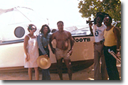 Author Alex Haley at home in Negril Jamaica with Wilma Johnson,Belva,Haley,Bill Moore and Vert Smith