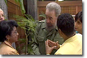 Belva, Fidel Castro,Congresswoman Barbara Lee in Havana Cuba